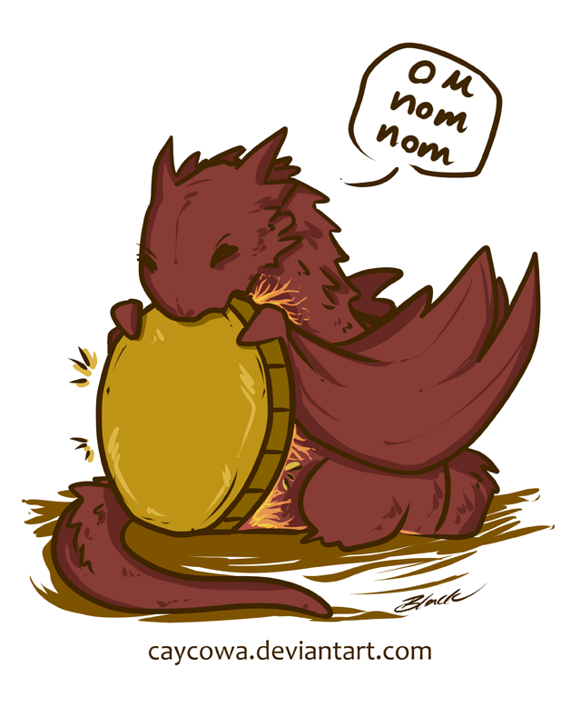 the_hobbit___chibi_smaug_on_nom_nom_by_caycowa-d8ch738